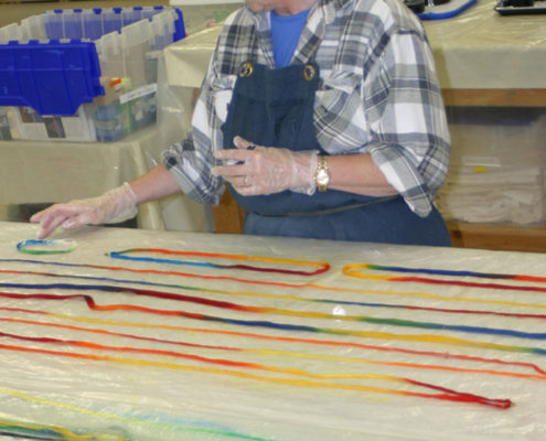 Students bring home their hand dyed threads