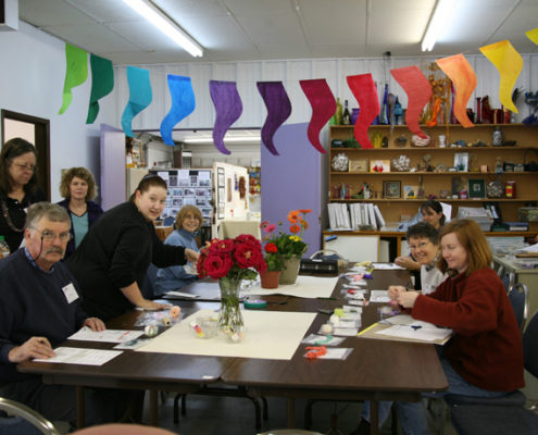 Group working on color and stitch Fritillaria 2007