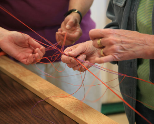 Learning how to keep threads untangled is part of hand dyeing!