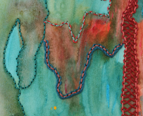 Judy_Middleton Working stitch to highlight and coordinate with dyed background