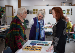 Christina Fairley Erickson discusses hand and machine Goldwork with Quilt & Fiber Art Museum Director Amy Green