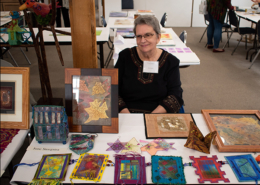 Artist June Steegstra displaying incredible machine stitched artwork