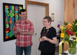 Gail cuts the ribbon with La Conner Mayor Ramon Hayes
