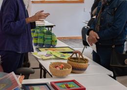 Guest speaker Susan Sasnett shows her whimsical artwork