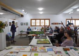 Guest speaker Susan Sasnett describes her artistic journey